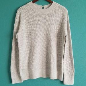 NWT {Loft} Gray Waffle Knit Keyhold Back Sweater